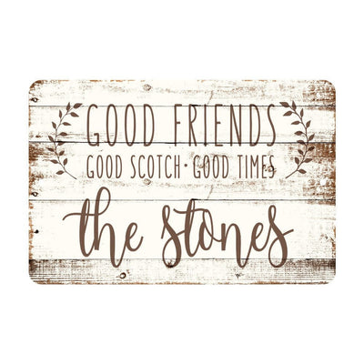 Personalized Good Friends, Good Scotch, Good Times Rustic Wood Look Metal Sign
