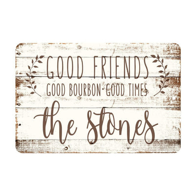 Personalized Good Friends, Good Bourbon, Good Times Rustic Wood Look Metal Sign