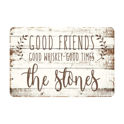 Personalized Good Friends, Good Whiskey, Good Times Rustic Wood Look Metal Sign