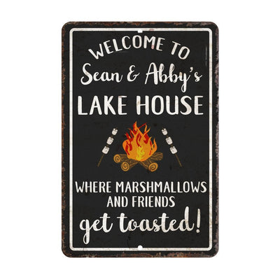 Personalized Welcome to The Lake House Where Marshmallows and Friends Get Toasted Metal Room Sign