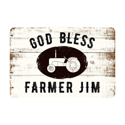 Personalized God Bless Farm Rustic Barnwood Look Metal Sign