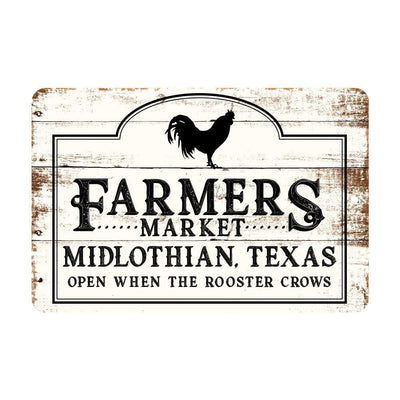 Personalized Farmers Market Rustic Barnwood Look Metal Sign