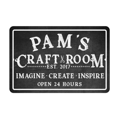 Personalized Craft Room Chalkboard Look Metal Room Sign