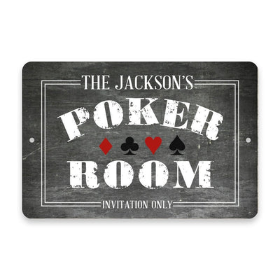 Personalized Chalkboard Poker Room Metal Room Sign