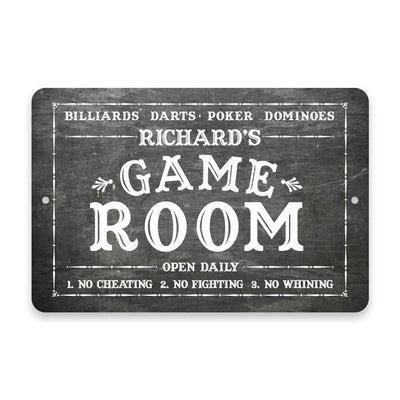 Personalized Chalkboard Game Room Metal Room Sign