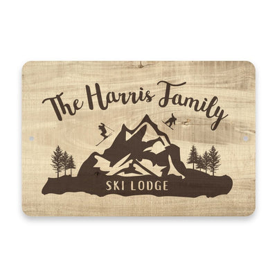 Personalized Subtle Wood Grain Ski Lodge Metal Room Sign