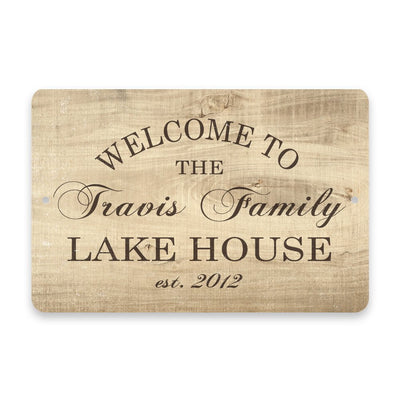 Personalized Subtle Wood Grain Welcome to The Family Lake House Metal Room Sign