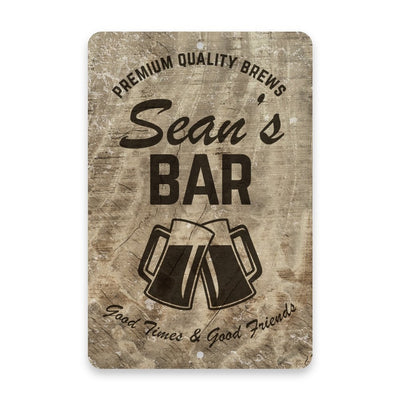 Personalized Subtle Wood Grain Bar Metal Room Sign