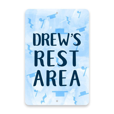 Personalized Music Note Rest Area - Blue Metal Room Sign