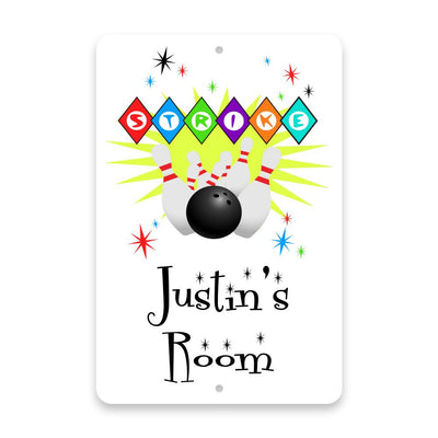 Personalized Bowling Strike Metal Room Sign