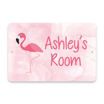 Personalized Flamingo Metal Room Sign