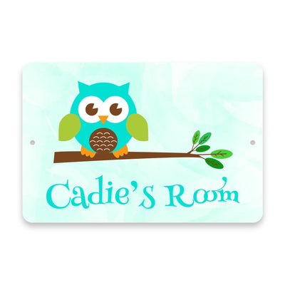 Personalized Owl Metal Room Sign