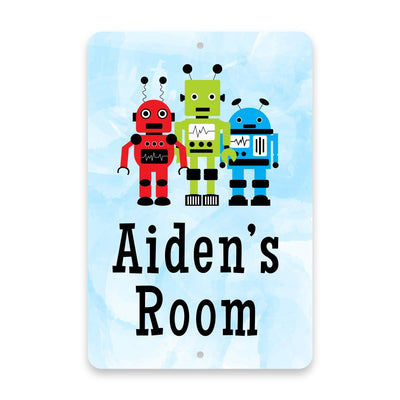 Personalized Robots Metal Room Sign
