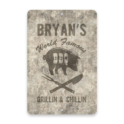 Personalized Concrete Grunge World Famous BBQ Metal Room Sign