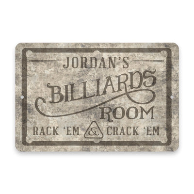 Personalized Concrete Grunge Billiards Room Metal Room Sign