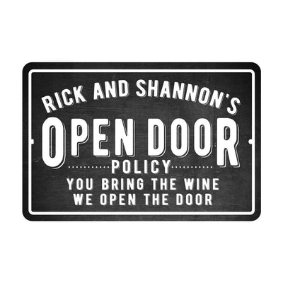 Personalized Open Door Policy Wine Metal Sign