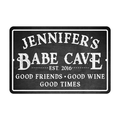 Personalized Babe Cave Metal Sign