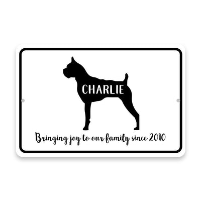 Personalized Boxer Bringing Joy to Our Lives Metal Room Sign