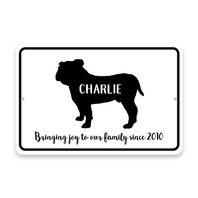 Personalized Bulldog Bringing Joy to Our Lives Metal Room Sign