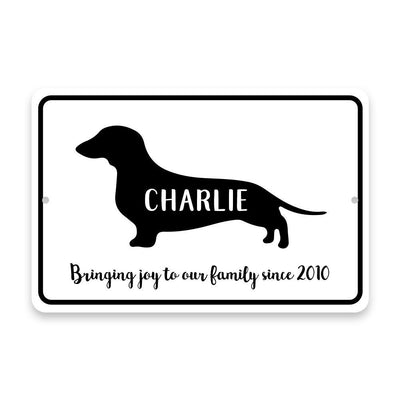 Personalized Dachshund Bringing Joy to Our Lives Metal Room Sign