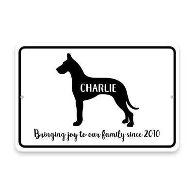 Personalized Great Dane Bringing Joy to Our Lives Metal Room Sign