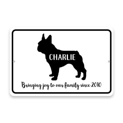 Personalized French Bulldog Bringing Joy to Our Lives Metal Room Sign