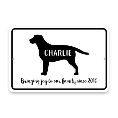 Personalized Labrador (Lab) Bringing Joy to Our Lives Metal Room Sign