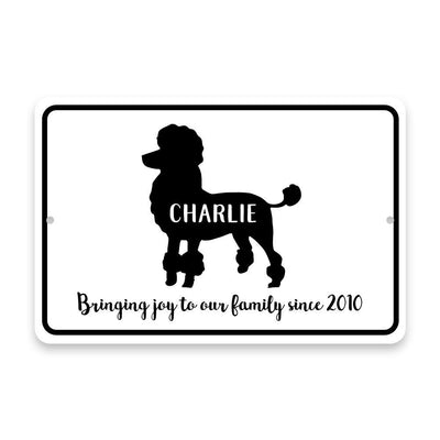 Personalized Poodle Bringing Joy to Our Lives Metal Room Sign