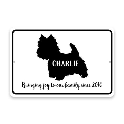 Personalized Westie Bringing Joy to Our Lives Metal Room Sign
