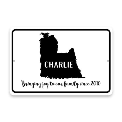 Personalized Yorkie Bringing Joy to Our Lives Metal Room Sign