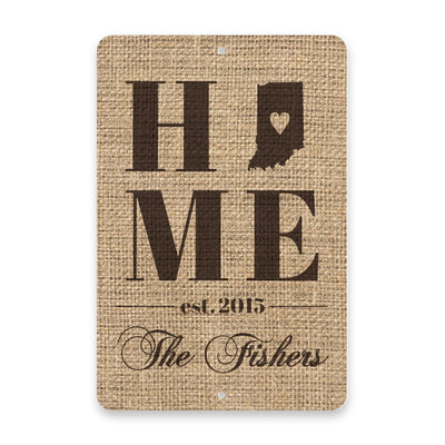 Personalized Burlap Indiana Home with Family Name Metal Room Sign