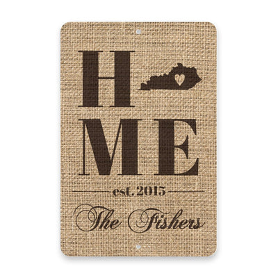 Personalized Burlap Kentucky Home with Family Name Metal Room Sign