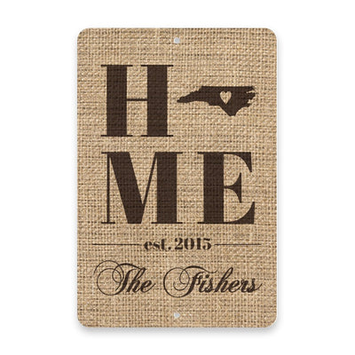 Personalized Burlap North Carolina Home with Family Name Metal Room Sign