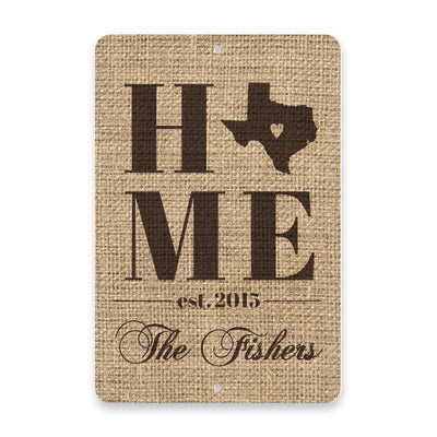 Personalized Burlap Texas Home with Family Name Metal Room Sign