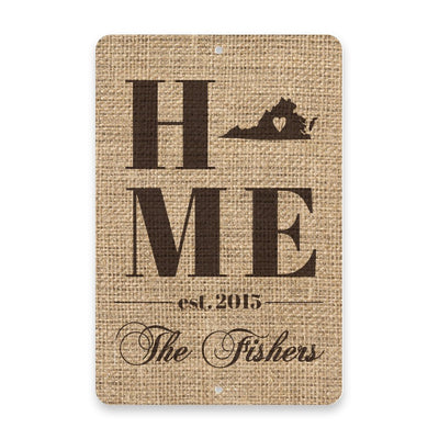 Personalized Burlap Virginia Home with Family Name Metal Room Sign