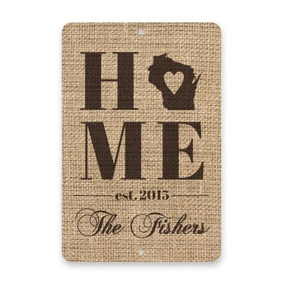 Personalized Burlap Wisconsin Home with Family Name Metal Room Sign