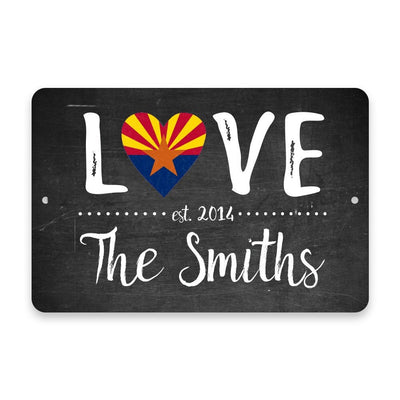 Personalized Chalkboard Arizona Love State Flag Metal Room Sign with Family Name