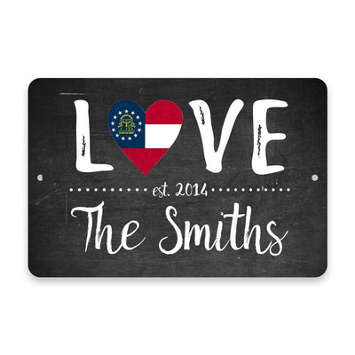 Personalized Chalkboard Georgia Love State Flag Metal Room Sign with Family Name