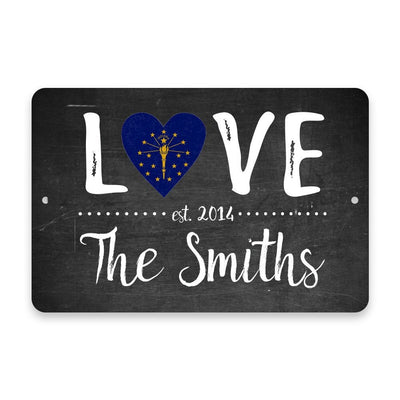 Personalized Chalkboard Indiana Love State Flag Metal Room Sign with Family Name