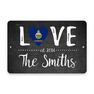 Personalized Chalkboard Kansas Love State Flag Metal Room Sign with Family Name