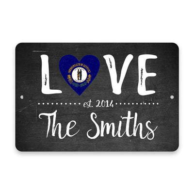 Personalized Chalkboard Kentucky Love State Flag Metal Room Sign with Family Name