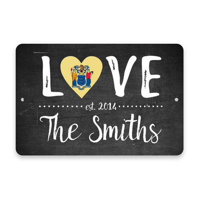 Personalized Chalkboard New Jersey Love State Flag Metal Room Sign with Family Name