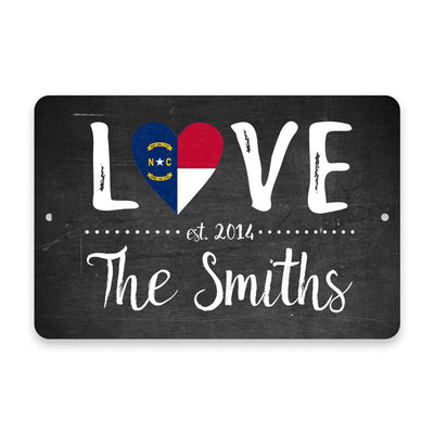 Personalized Chalkboard North Carolina Love State Flag Metal Room Sign with Family Name