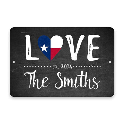 Personalized Chalkboard Texas Love State Flag Metal Room Sign with Family Name