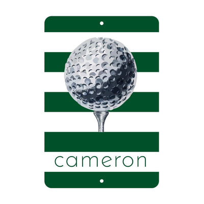 Personalized Golf Metal Wall Decor with Golf Ball - Aluminum Golf Sign with Name
