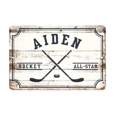 Personalized Hockey All Star Metal Wall Decor - Aluminum All Star Hockey Sign with Hockey Sticks