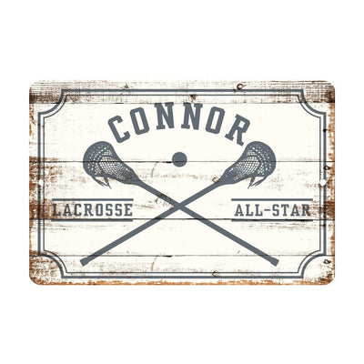 Personalized Boys Lacrosse All Star Metal Wall Decor - Aluminum All Star Boys Lacrosse Sign with Boys Lacrosse Sticks