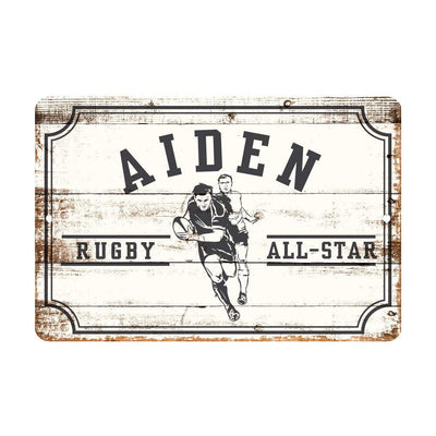 Personalized Rugby All Star Metal Wall Decor - Aluminum All Star Rugby Sign with Name