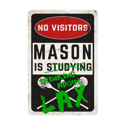 Personalized Boy's Lacrosse Room Sign - No Visitors, Studying, Thinking About Lacrosse Wall Decor Metal Door Sign