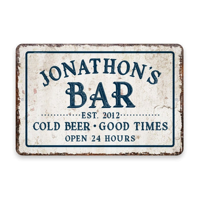 Personalized Vintage Distressed Look Bar Cold Beer Good Times Metal Room Sign